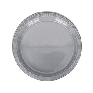 10 in. Heavy Duty Disposable Plastic Party Plates, Silver -