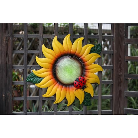 Sunflower Metal and Glass Outdoor Wall Decor
