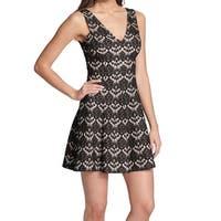 Kensie Black Beige Womens Size 2 V-Neck Bonded Lace Sheath Dress