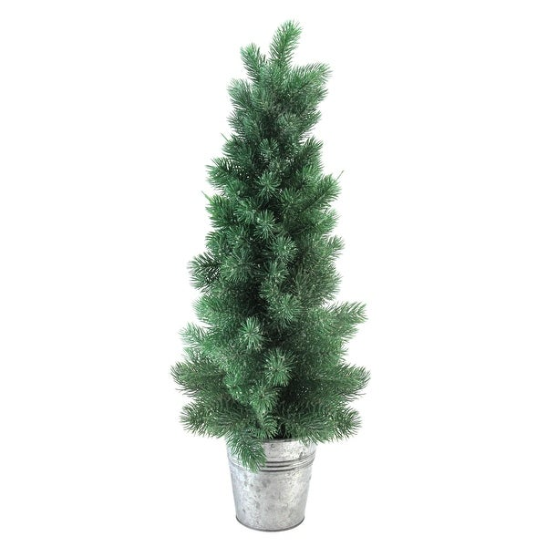 "25"" Iced Mini Pine Artificial Christmas Tree in Galvanized Bucket - green"