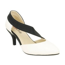 Red Circle Footwear 'Nadine' Pointy Low Heel in Black/White