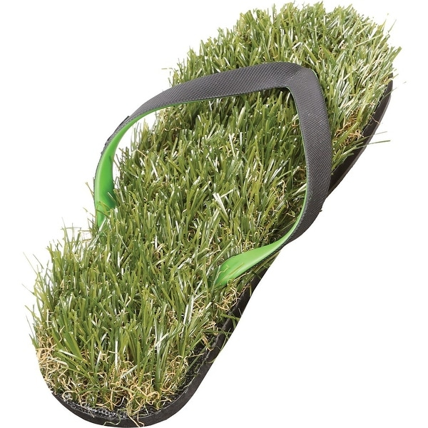 Men's Faux Grass Flip-Flop Sandals - Recycled Rubber Sole - Green - XS