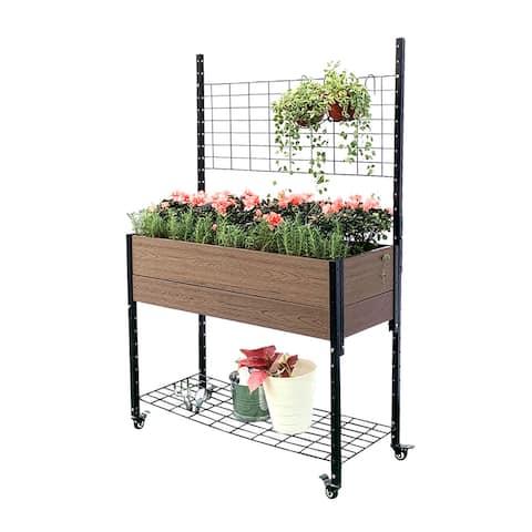 Mobile Elevated Garden Planter Box Raised Garden Bed w/ Trellis & Under Shelf