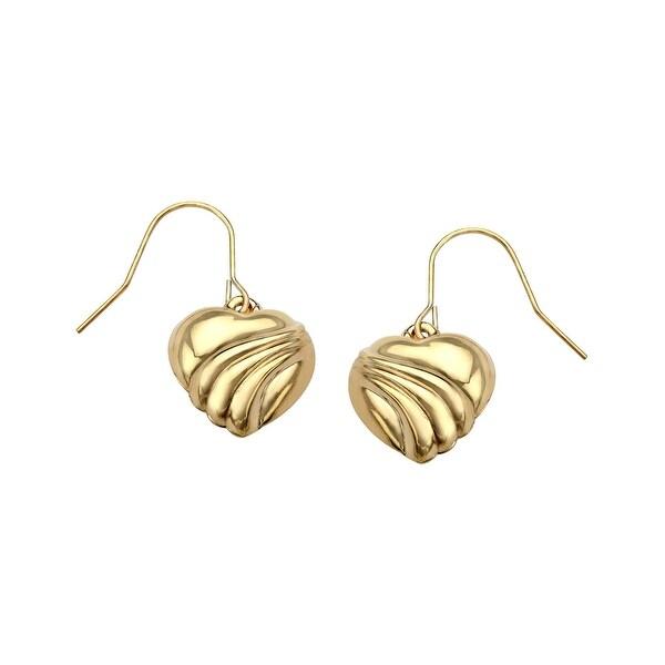 Eternity Gold Heart Drop Earrings In 10k Yellow