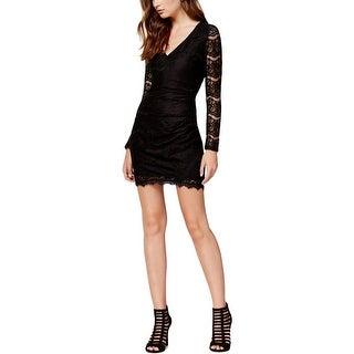 Material Girl Womens Juniors Mini Dress Lace Overlay Eyelash Trim - S