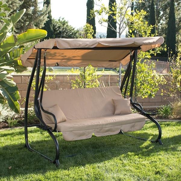 shop belleze outdoor canopy porch swing bed hammock tilt canopy sun shade steel frame free. Black Bedroom Furniture Sets. Home Design Ideas