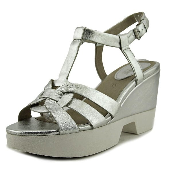 Bussola Paine Women Open-Toe Leather Silver Slingback Sandal