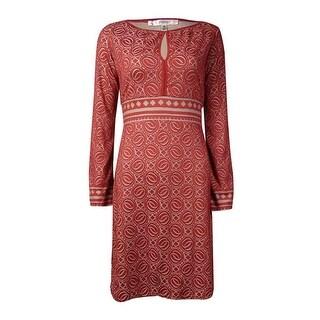 Studio M Women's Textured Keyhole Dress - terracotta taupe