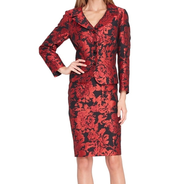 8aa85b26bc8 Shop Tahari by ASL Red Women s 14 Floral Embroidered Skirt Suit Set ...