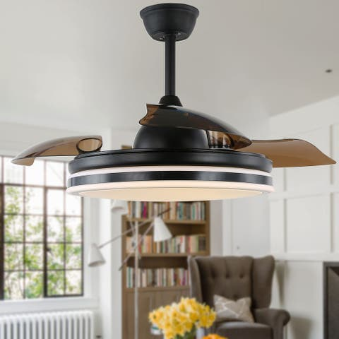 "42"" Modern Drum Ceiling Fan with Retractable Blades, LED and Remote"