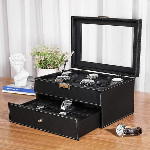 20 Slot 2 Tiers Watch Box Lockable Organizer Display Case with Glass Top