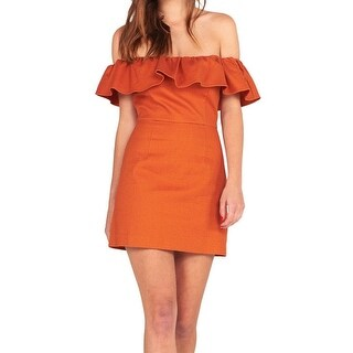 Kendall + Kylie NEW Orange Womens Size Medium M Off-Shoulder Dress