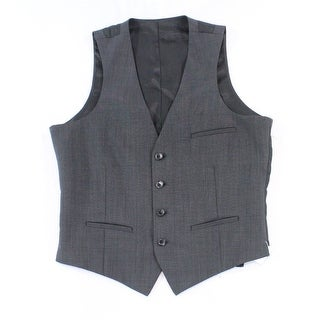 Bar III NEW Dark Gray Mens Size 38 Button-Down Solid Wool Suit Vest