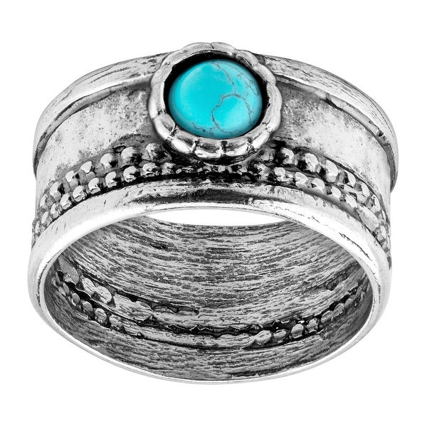 Natural Turquoise Cabochon Band Ring in Sterling Silver - Green