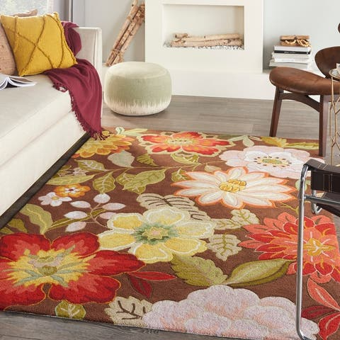 Nourison Fantasy Contemporary Floral Wildflowers Area Rug