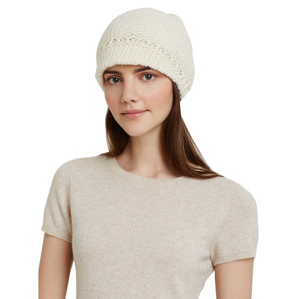 Aqua Ladies Ivory Cream Knit Visor Cap One Size Made In Italy