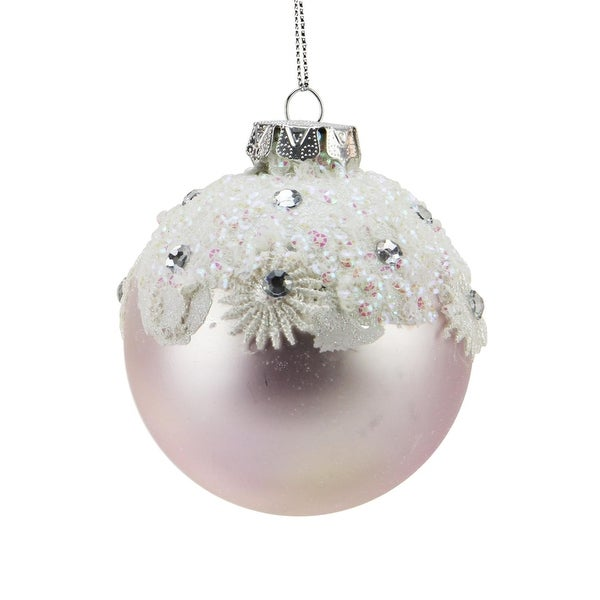 """Ice Palace Matte Cerulean Frost with Glitter Drenched Snowflake Band Glass Christmas Ball Ornament 3"""" (75mm)"""