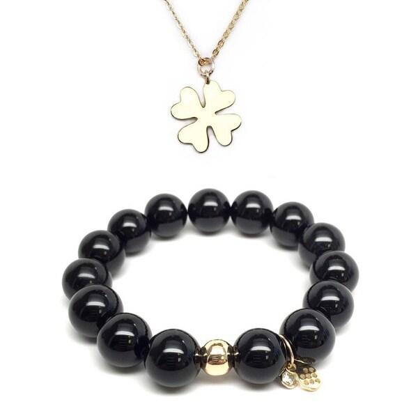 Black Onyx Bracelet & Star Clover Charm Necklace Set