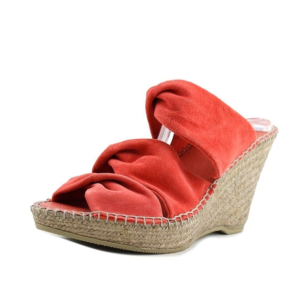 Andre Assous Sun-A Women Open Toe Suede Red Wedge Sandal