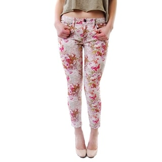 GENETIC NEW Pink Women's Size 28X27 Slim Skinny Floral Printed Jeans