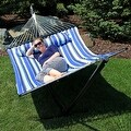 Sunnydaze 2-Person Quilted Hammock with Spreader Bars and Detachable Pillow - Hammock Stand Included - Thumbnail 5