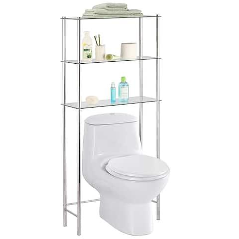 Home Basics 3-Tier Over-The-Toilet Glass Space Saver, Chrome - 25.9x10.6x58.2