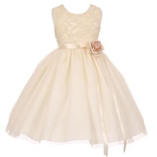 Little Girls Ivory Lace Satin Sash Corsage Tulle Flower Girl Dress 2-6