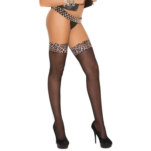 a93b6bcd1f6 Shop Sheer Leopard Lace Top Thigh Highs - Black - One Size Fits Most - Free  Shipping On Orders Over  45 - Overstock - 18009585