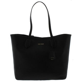 Cole Haan Womens Abbot Tote Handbag Textured Leather - Black - Large