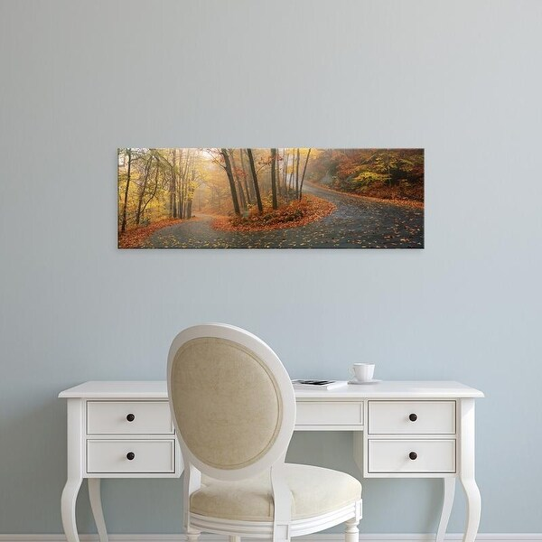 Easy Art Prints Panoramic Image 'Road Through Mountainside In Autumn, Monadnock Mountain, New Hampshire' Canvas Art