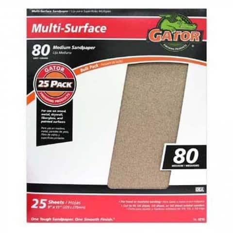 """Gator 4210 Multi-Purpose Sanding Sheet, 80 Grit, 9"""" x 11"""""""