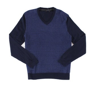 Club Room NEW Blue Navy Mens Size XL V-Neck Houndstooth Knit Sweater
