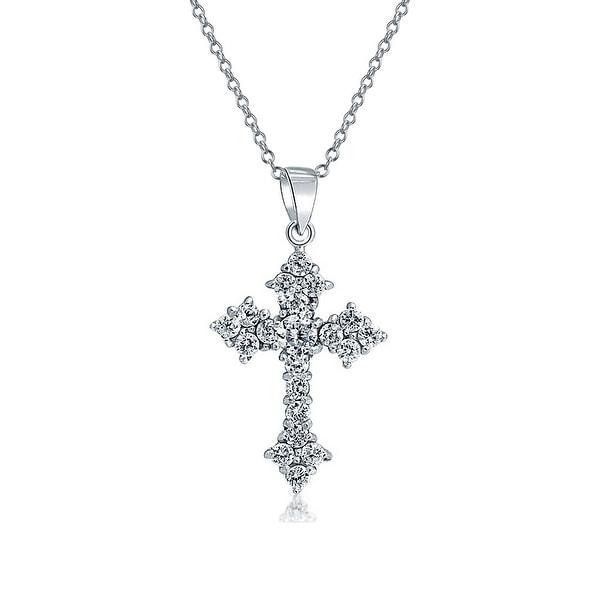 .925 Sterling Silver Rhodium Plated CZ Cross Charm Pendant