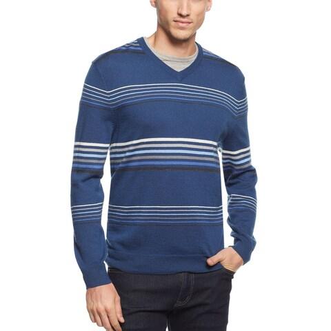 Club Room Striped V-Neck Sweater Shark Eye Blue Merino Wool Blend