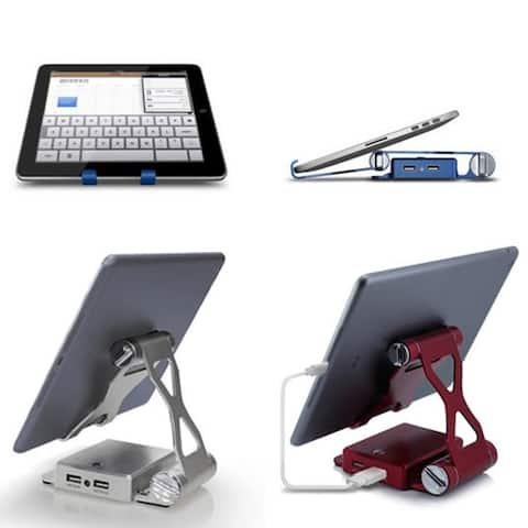 Podium Style 3-Piece Folding Gadget Stand With Built-In Power Bank For Iphone/Ipad/Kindle