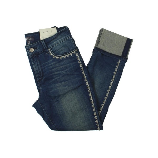 NYDJ Womens Petites Alina Ankle Jeans Embroidered Dark Wash