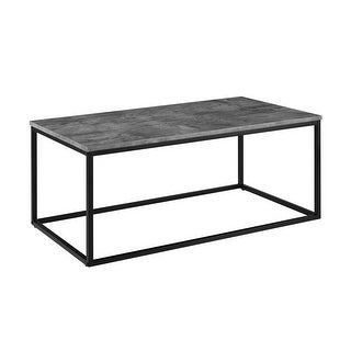 "Delacora WE-BD42LWSQ  42"" Long Mixed Material Coffee Table with Metal Base"