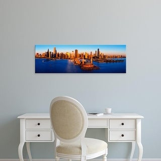 Easy Art Prints Panoramic Image 'Sunrise at Navy Pier, Lake Michigan, Chicago, Cook County, Illinois, USA' Canvas Art