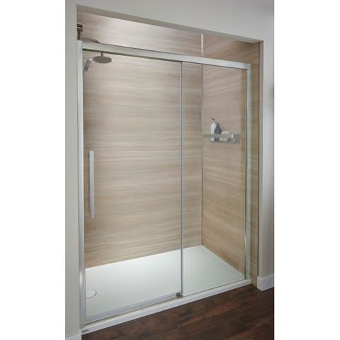 "Jacuzzi SD48 76"" High x 48"" Wide Sliding Semi-Frameless Shower Door with Clear Glass"