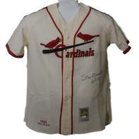 ad5b4cdf9ff Stan Musial Autographed St Louis Cardinals Mitchell Ness Flannel Jersey JSA