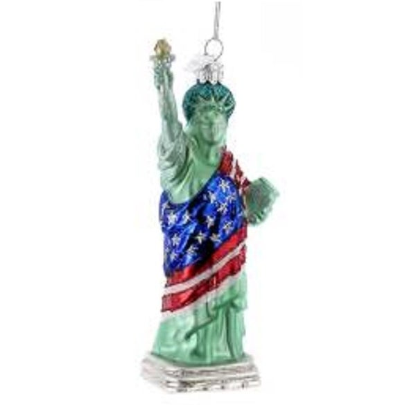 "5.5"" Noble Gems Statue of Liberty with American Flag Glass Christmas Ornament"