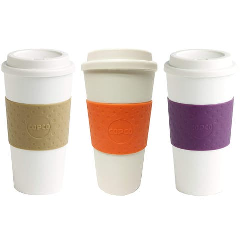 Copco Acadia BPA Free Insulated Mug Non Slip Sleeve 16 Ounce Cup - PACK Of 3