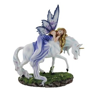 Violet the Fairy of Flower Valley Lounging On Pearly White Unicorn Statue - Purple