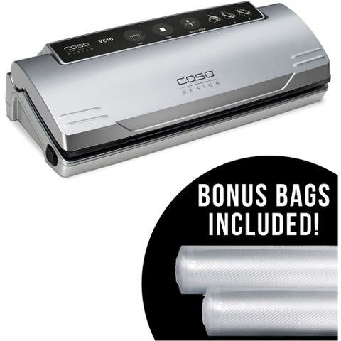 Caso Design VC 10 Food Vacuum Sealer with Food Management App and Set of 2 Food Vacuum Rolls