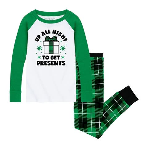 Up All Night To Get Presents- Kids Pajama Sets - White/Red Green Snowflake