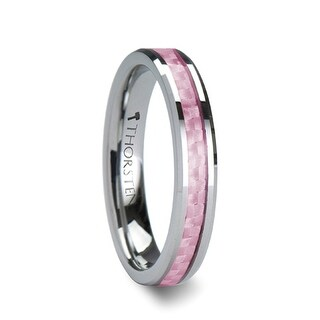 THORSTEN - PINK Beveled Tungsten Wedding Band with Pink Carbon Fiber - 4 mm
