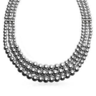 Wide Collar Necklace 3 Strand Grey Imitation Pearl Crystal 18 Inch