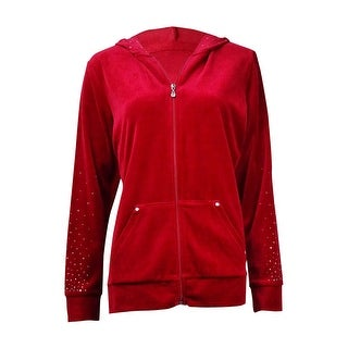 Style & Co. Women's Studded Velour Zip Hooded Jacket