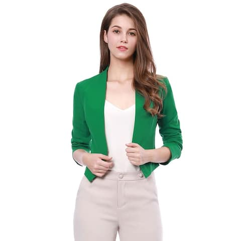 Unique Bargains Women Collarless Work Office Business Casual Cropped Blazer