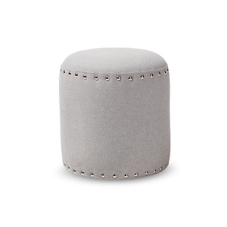 Xavier Light Grey Fabric Upholstered Nail Trim Ottoman